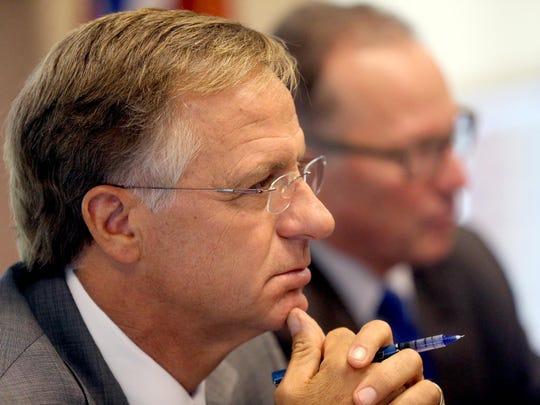 Tennessee Governor Bill Haslam, listens to the concerns of local Rutherford County official during the Governor's state wide tour for a transportation discussion on Thursday, Aug. 20, 2015, at the Ruthreford County Chamber of Commerce.