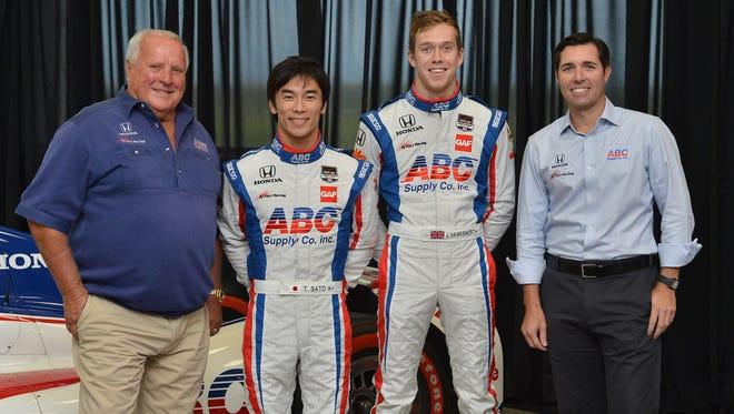 A.J. Foyt, (L), Takuma Sato, Jack Hawksworth and Larry Foyt.