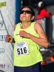 Ramona Sanchez won the womens division with a time of 28:15 in the 48th Annual Journal Jog held in Reno on Sunday, Sept. 11, 2016.