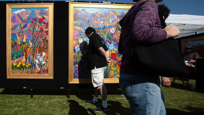 Don Mcpherson's work on Saturday, January 30, 2016 during the Southwest Arts Festival in Indio.