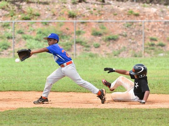 Yigo Astros player John Salas, Jr. slides to second