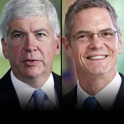 Left: Republican Gov. Rick Snyder Right: Democrat gubernatorial candidate Mark Schauer