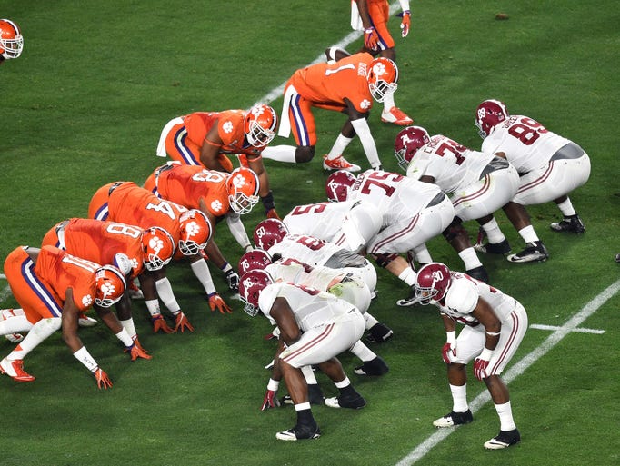 football national championship line on alabama game