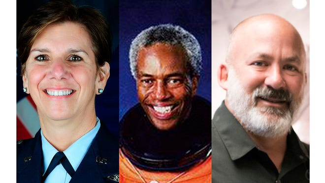 "From left are Gen. Lori Robinson, astronaut Col. Guion ""Guy"" Bluford Jr., and CMSgt. William ""Calvin"" Markham will share their stories on stage at the Alabama Shakespeare Festival."