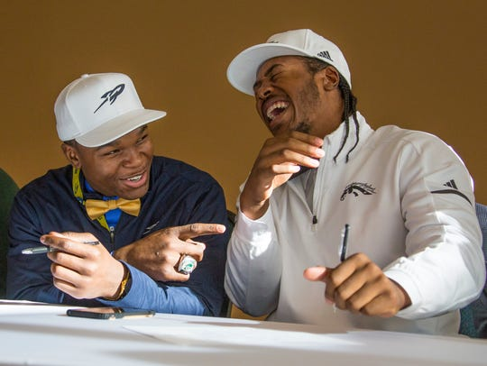 Detroit Cass Tech football players Dyontae Johnson,