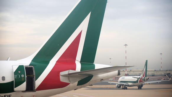 An Alitalia airplane is seen at the Fiumicino airport