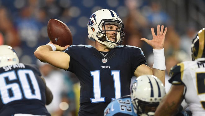Titans quarterback Alex Tanney throws in the fourth quarter against the Rams during a preseason game at Nissan Stadium on Aug. 23, 2015.