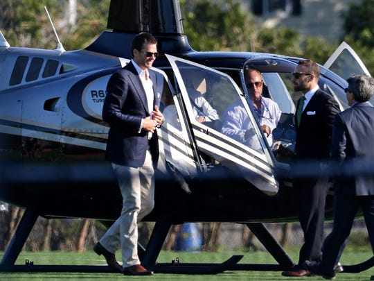 New England Patriots quarterback Tom Brady  arrives