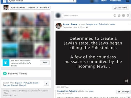 A screen capture of the Facebook feed of Ayman Awwad, shared by a petition calling for his firing from the Lyndhurst Auxiliary Police.