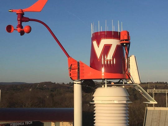 This weather station, installed in March 2016, sits on top of Virginia Tech's Lane Stadium..