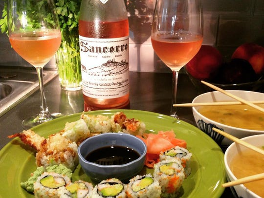 Sushi pairs well with rosé, such as Sancerre Rosé by