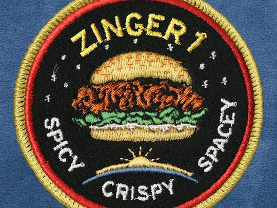 KFC's official patch for a marketing campaign launching a Zinger chicken sandwich to the stratosphere on a World View high-altitude balloon test flight lifting off from Arizona.