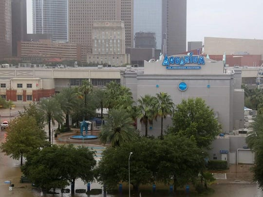 Flooding in downtown Houston following Hurricane Harvey.