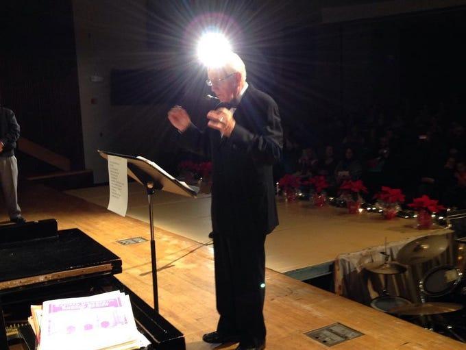 Loren Donley leads students in the Hallelujah chorus,