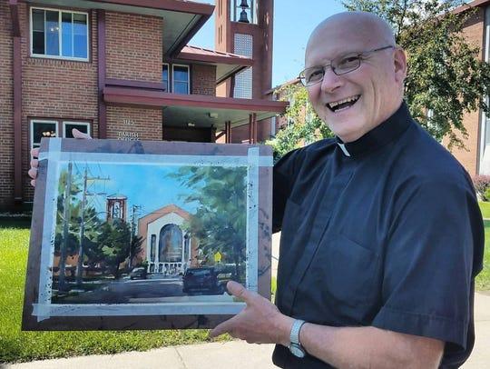 Father Leroy Scheirel poses with Dan Mondloch's plein