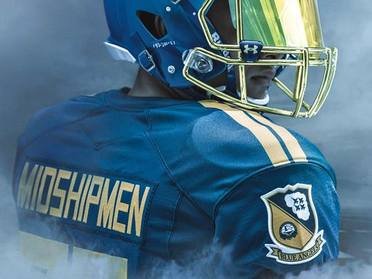 A look at the jerseys to be worn Saturday by the Navy Midshipmen in honoring the Blue Angels for the rivalry game against Army.