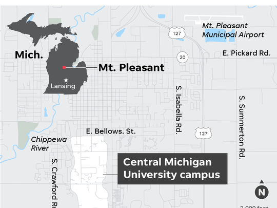 Map of where Central Michigan University is in Michigan.