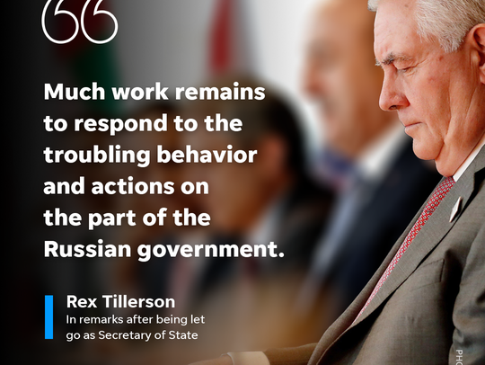 Secretary of State Rex Tillerson spoke at a news conference