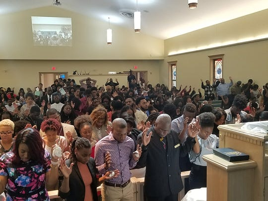 Easter service last year at New Mount Zion. The church will meet at the Pavilion at the Centre of Tallahassee this year.