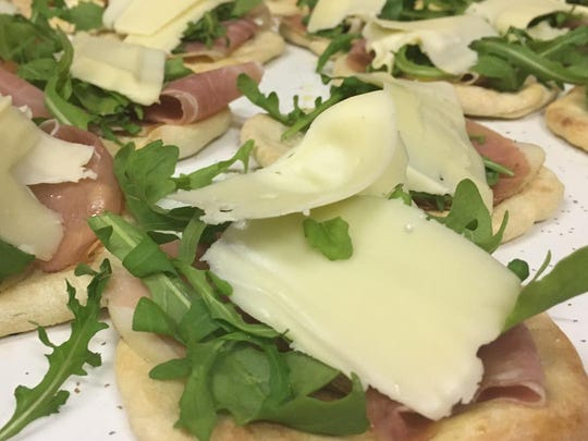 Pizzete Crudo, or mini pizzas, are a tempting catering option from Valente's Market in Haddonfield.