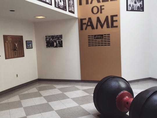 A 1500-pound dumbell rests right outside the USA Weightlifting Hall of Fame.