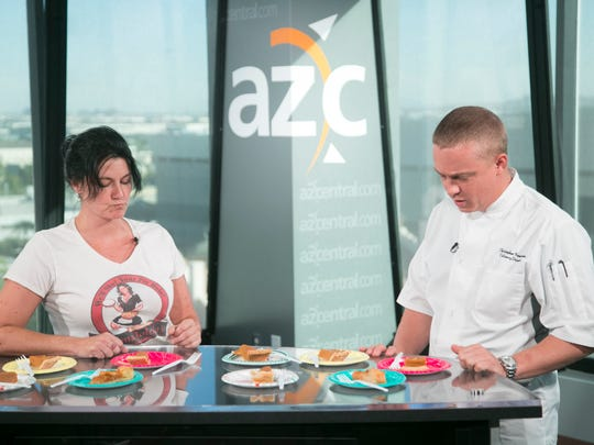 Tonya Saidi, (left) owner of Mama Toledo's, a Phoenix pie shop and Christopher Newstrom, Culinary Director of Upward Projects, a Phoenix based restaurant group, taste test five different store bought pumpkin pies in the azcentral studios in Phoenix on November 2, 2016.