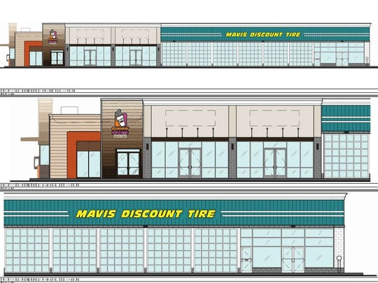 Proposed exteriors of Dunkin' Donuts and Mavis Discount Tire in Middletown.