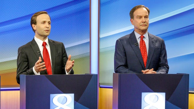 Lt. Gov. Brian Calley and AG Bill Schuette during the one-hour Republican debate at WOOD-TV in Grand Rapids on May 9, 2018.