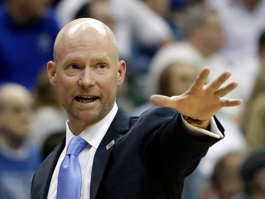 Seton Hall head coach Kevin Willard gestures toward his players during the second half of an NCAA college basketball game against the Villanova Saturday, March 9, 2019, in Newark, N.J. Seton Hall defeated Villanova 79-75. (AP Photo/Kathy Willens)