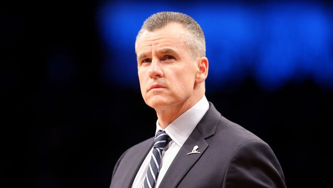 Oklahoma City Thunder coach Billy Donovan looks on  against the Brooklyn Nets during the fourth quarter at Barclays Center.