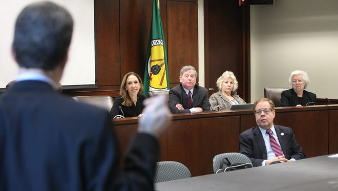 Stephen Jambor, left, vice president of the Westchester/Putnam School Boards Association, and the Brewster school board president, is interviewed by New York state legislators for a Lower Hudson Valley seat on the state Board of Regents at the Greenburgh Town Hall on Friday. Some of the legislators are pictured: from left, Amy Paulin, Steve Otis, Didi Barrett, Tom Abinanti and Sandy Galef, all Assembly representatives.