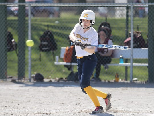 Schoolcraft's Mackenzie Quinn hits an infield single during Saturday's second game. The Lady Ocelots swept a doubleheader against Alpena.