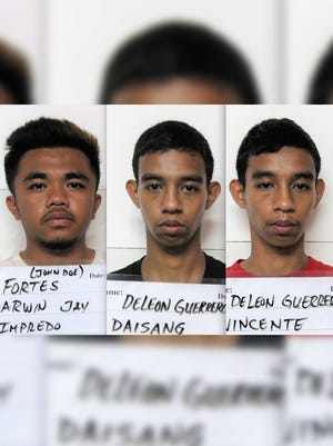 From left, Darwin Jay Impredo Fortes, Daisang Daisang Deleon Guerrero and Vicente Daisang Deleon Guerrero are shown in this combined image.