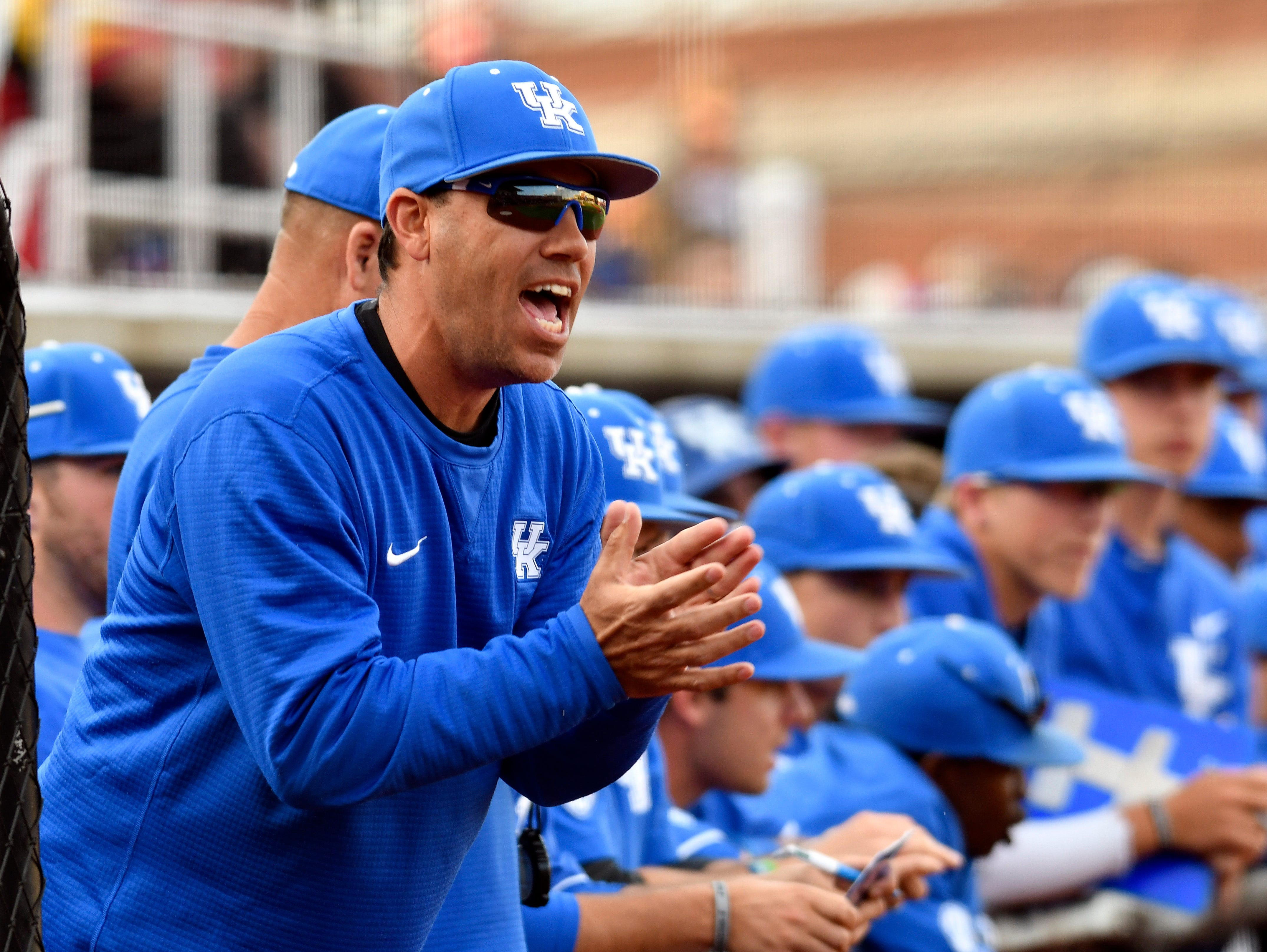 Kentucky head coach Nick Mingione cheers on his team during their game against Louisville Jim Patterson Stadium, Tuesday, April. 4, 2017 in Louisville Ky.
