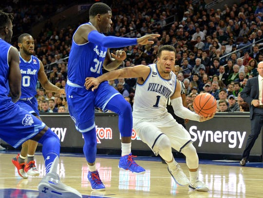 Villanova Wildcats guard Jalen Brunson (1) drives to the basket against Seton Hall Pirates center Angel Delgado (31) during their first meeting Feb. 4.