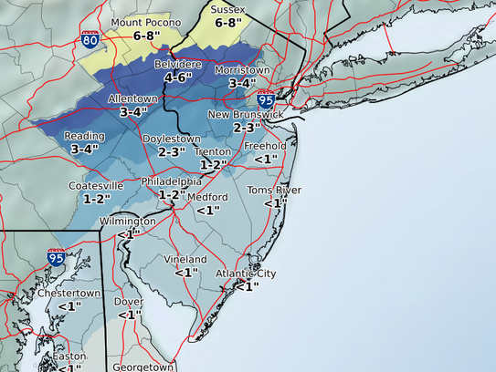 Less than an inch of snow is likely for much of Monmouth