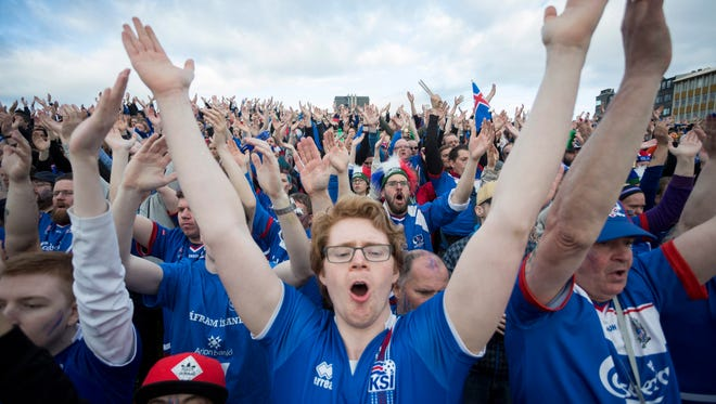 Icelanders gather in Reykjavik to celebrate the team's play in the European Championships.