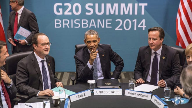 World leaders, including President Obama, meet in Brisbane for a G-20 summit.