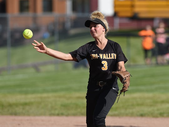 Tri-Valley's Jordan Birkhimer throws to first base during a 2017 game against Maysville. Birkhimer signed to play at Ashland on Wednesday.