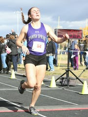 Akexis Melendrez, Spanish Springs senior, won the girls 4A state cross country meet Saturday at Shadow Mountain in Sparks.