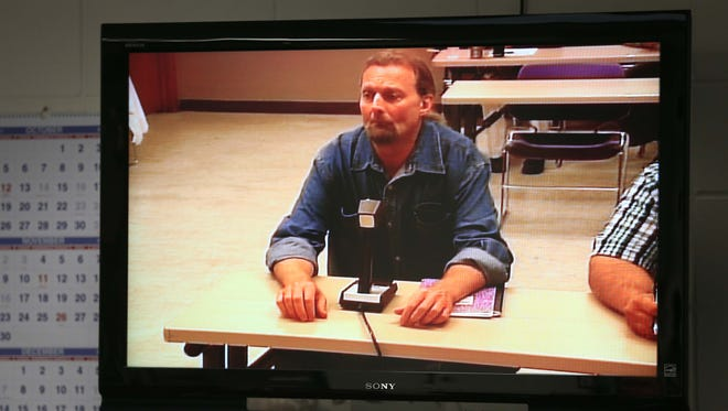 Lonnie Shayne Tabor, 50, meets with the Iowa Board of Parole via video conference from the North Central Correctional Facility in Rockwell City on Wednesday, Oct. 21, 2015. Tabor, who was serving a 25-year prison sentence for criminally transmitting the HIV virus to his former girlfriend was denied parole by the board.