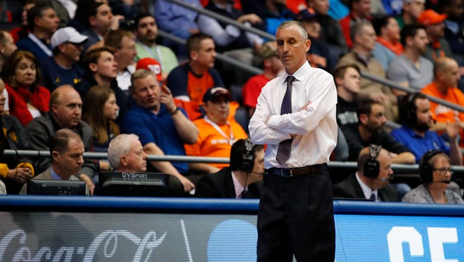 ASU coach Bobby Hurley stalks the sideline during the Sun Devils' NCAA tournament loss to Syracuse in March.