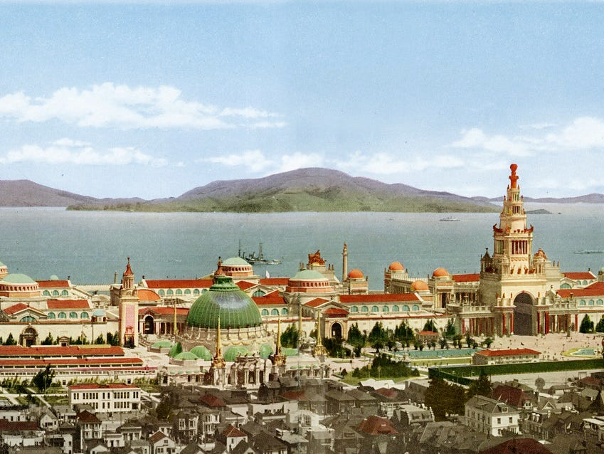 Panoramic view of main exhibit palaces of the Panama-Pacific International Exposition in San Francisco in 1915.