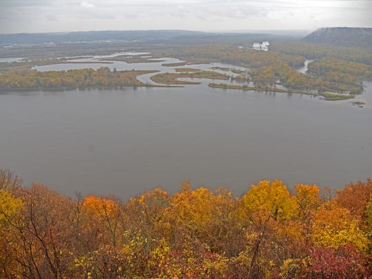 This view from Pikes Peak, Iowa, shows the bottomlands where the Wisconsin River joins the Mississippi River at Prairie du Chien.