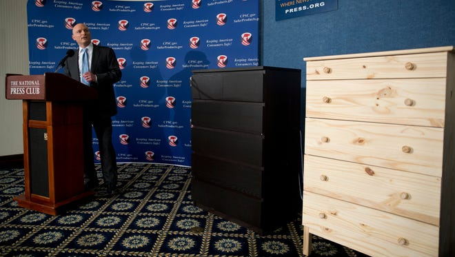 Two Ikea dressers displayed during a news conference at the National Press Club in Washington.