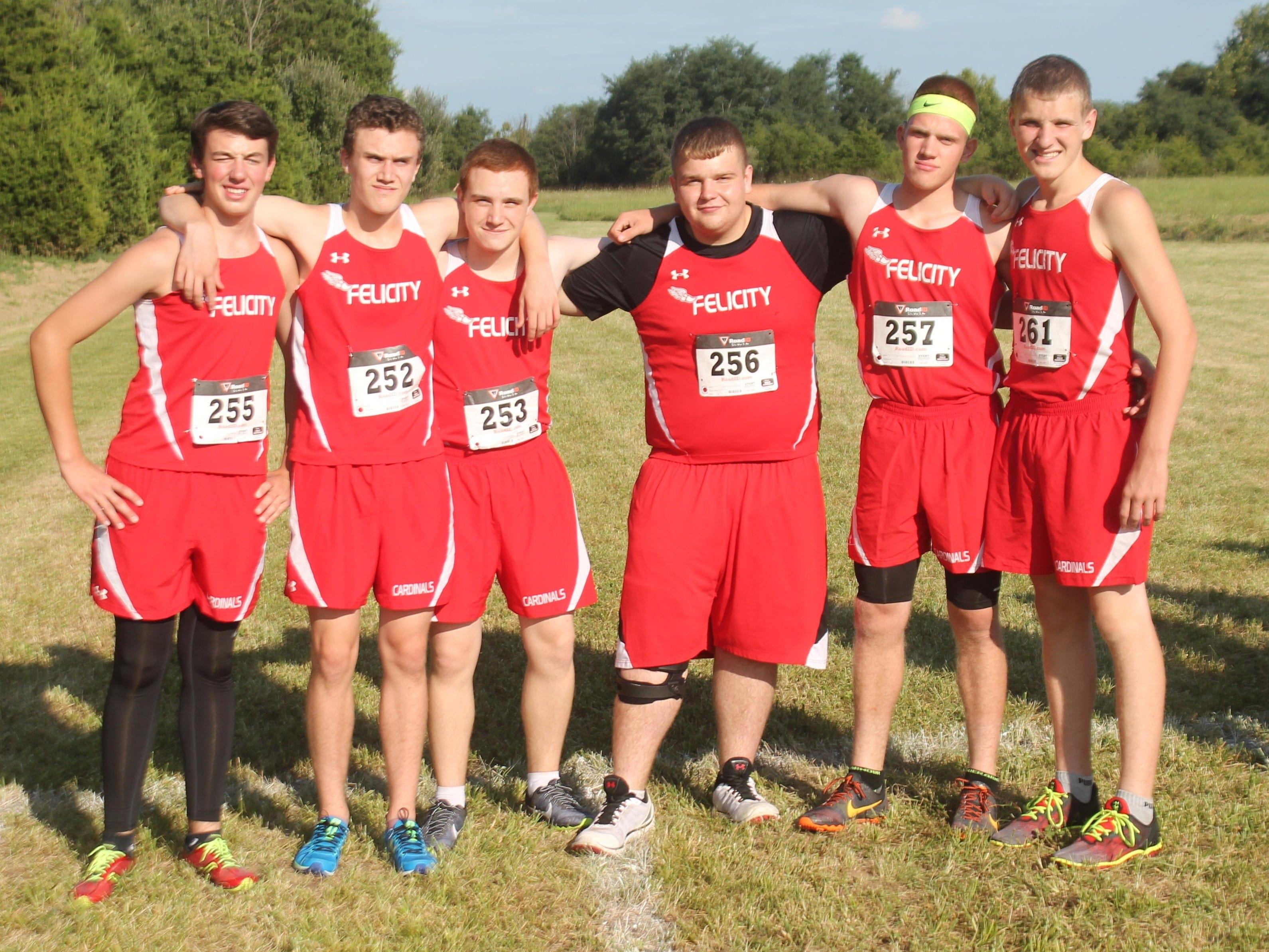 Felicity-Franklin had to race without top runner Jared Boeckmann Aug. 26. Carrying on for the Cardinals were, from left, junior Ethan Brown, freshman Aidan Binion, junior Ethan Binion, junior Nathaniel Buckler, junior Bradley Elkins and freshman Austin Rutherford.