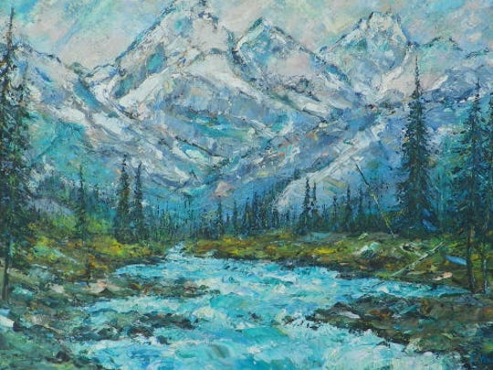 """Caribou Range"" was inspired by views near a former home in Pocatello, Idaho. Artist  Rosemary ""Rusty"" Windham has lived on Indian reservations throughout the American West and on an island in the North Pacific."