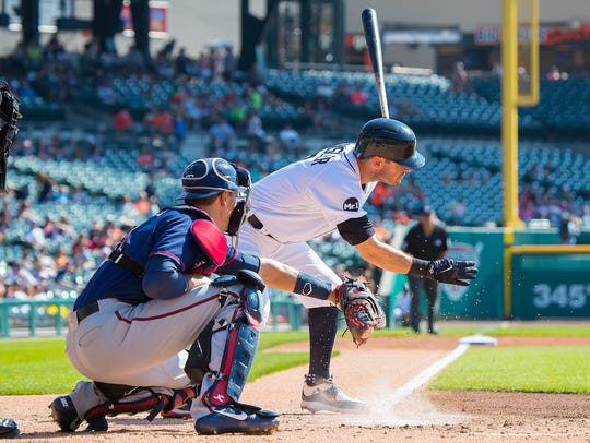 Ian Kinsler #3 of the Detroit Tigers strikes out in
