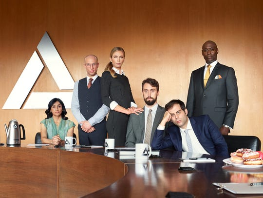 "The cast of ""Corporate"" on Comedy Central"