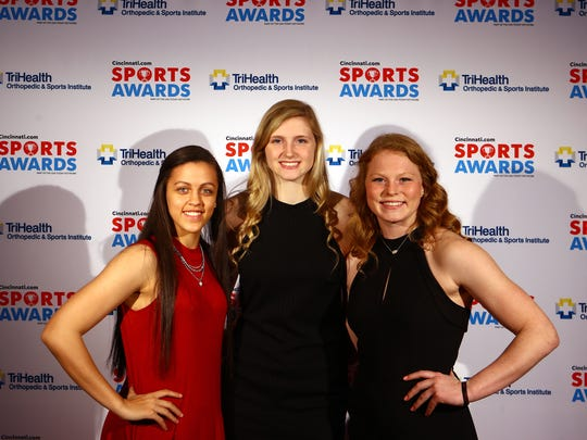 Lakota West basketball player Abby Prohaska, right, poses with sammie Puisis of Mason, center, and Gabbie Marshall of MNDat the 2018 Cincinnati Sports Awards Show at Music Hall. Prohaska's a senior going to Notre Dame.  Junior Puisis will play at Florida State after next year and Marshall will be at Iowa in 2019.